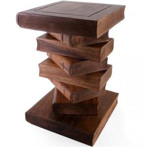 Masuta sculptata din lemn in forma de teanc de carti 51cm