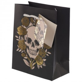 Metallic Skulls and Roses Gift Bag - Small
