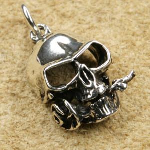 Pandantiv argint Craniu cu trandafir