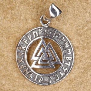 Pandantiv argint Nodul viking Wotan cu rune