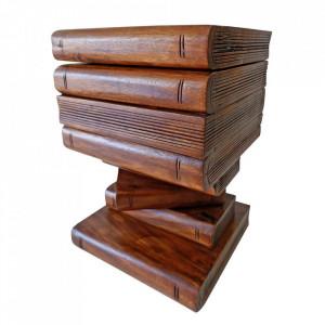 Scaunel sculptat din lemn cu spatiu depozitare Teanc de Carti