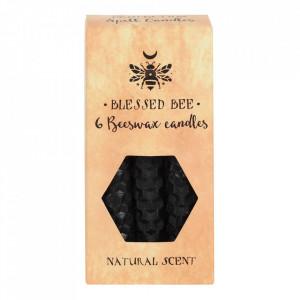 Set 6 lumanari negre din ceara de albine pentru ritualuri de protectie si vindecare 11cm