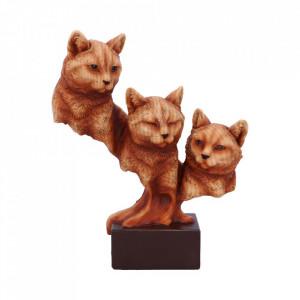 Statueta bust pisici finisaj lemn Feline Trio 23.5 cm