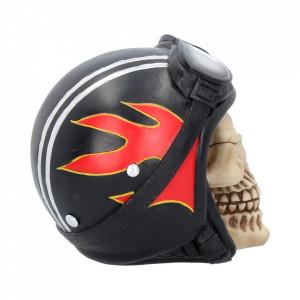 Statueta craniu cu casca motociclist Hell Fire 15 cm