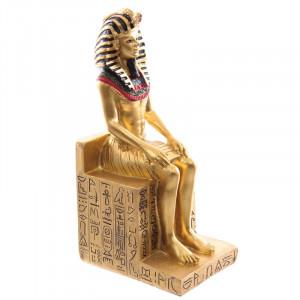 Statueta egipteana Ramses II pe tronul cu hieroglife