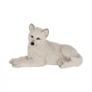 Statueta lup alb Puiul iernii 12 cm