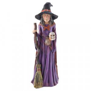 Statueta Vrajitoare cu craniu si matura 30 cm