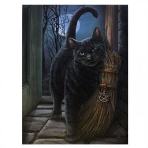 Tablou canvas pisica neagra O Intalnire Magica 19x25cm - Lisa Parker