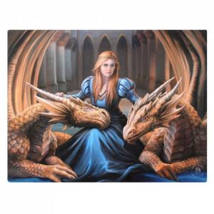 Tablou canvas, zana si dragoni, Loialitate fioroasa 19x25cm - Anne Stokes