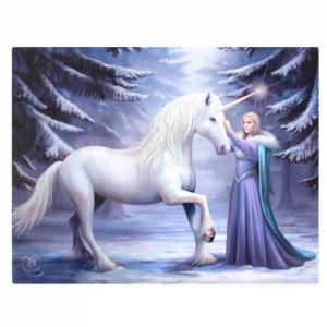 Tablou canvas zana si unicorn, Magie Pura 19x25cm - Anne Stokes