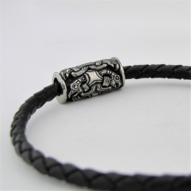 Leather Bracelet with Silver Fittings Odin's Ravens