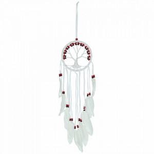 Dreamcather alb cu margele multicolore Copacul Vietii