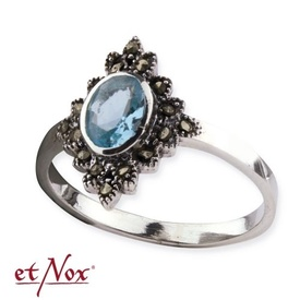 Inel argint cu zirconii Marcasit albastru
