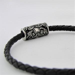 Leather Bracelet with Silver Fittings Odin's Ravens