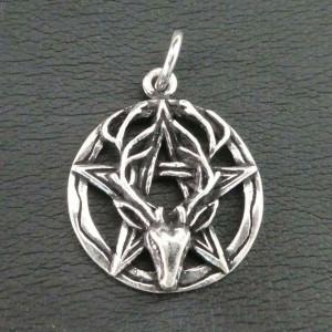 Pandantiv argint Cerb cu pentagramă