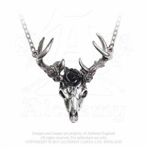 Pandantiv craniu cerb Inima Alba, Trandafir Negru