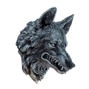 Plachetă decorativă perete Cap de lup 30cm