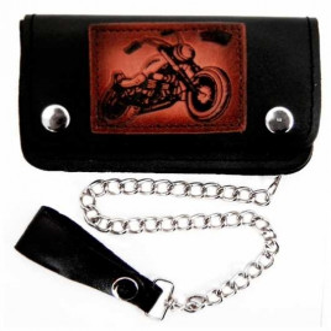 Portofel cu lant pt bikeri, piele naturala, Motocicleta 16 x 9 cm