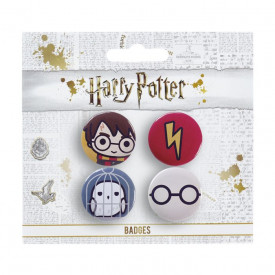 Set 4 insigne licenta Harry Potter, Harry si Hedwig