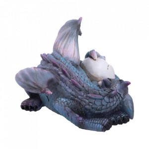 Statueta dragon cu pui Vise placute (albastru)