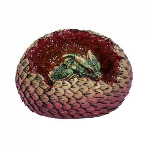 Statueta dragon in ou Casa din Cristale - rosu/verde 11 cm