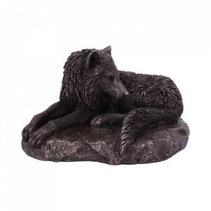 Statueta lup finisaj bronz Gardianul Nordului 20 cm