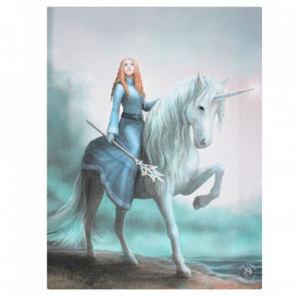 Tablou canvas zana si unicorn, Incepe Aventura 19x25cm Anne Stokes