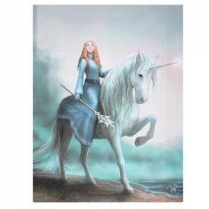 Tablou canvas zana si unicorn, Incepe Aventura 19x25cm Anne Stokes