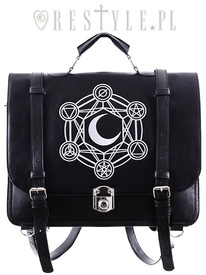 Bag & Bacpack, black satchel, alchemical symbols MOON MESSENGER