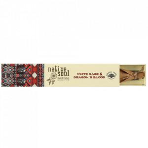 Betisoare de tamaie parfumate Native Soul - Salvie Alba si Sange de Dragon 23cm
