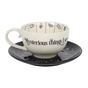 Cana ceramica cu farfurie Arta cititului in ceai