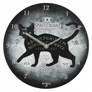 Ceas de perete din lemn Pisica neagra