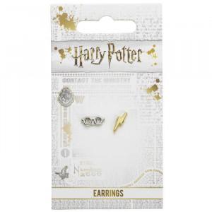Cercei tip studs placati argint licenta Harry Potter Ochelari si fulger