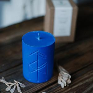 Lumanare albastra cu rune pentru ritual de reusita in cariera Norse Magic - Thor