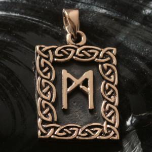 Pandantiv bronz runa Mannaz