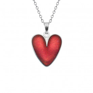 Pandantiv placat argint si sticla emailata in cutiuta cadou - Inima