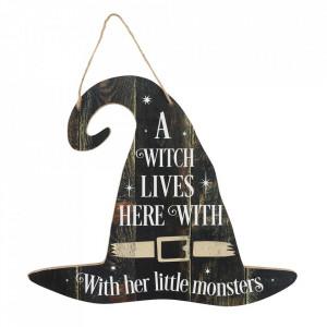 Placuta decorativa lemn A witch lives here