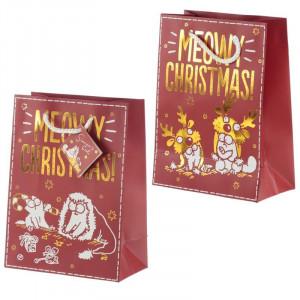 Punga cadou Craciun cu pisica Meowy Christmas Metallic - mediu