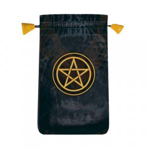 Punga catifea pentru carti de tarot Pentagrama 14cm