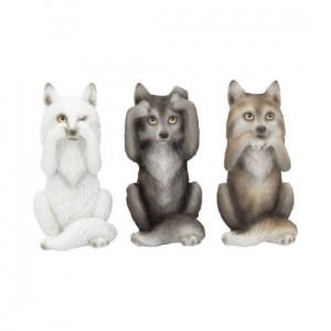 Set 3 statuete Trei lupi intelepti - 10 cm