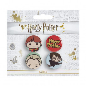 Set 4 insigne licenta Harry Potter Ron, Draco si Harry