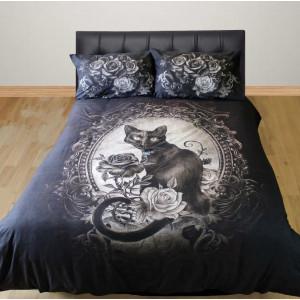 Set lenjerie de pat gotica din bumbac, pisica neagra, Alchemy - Paracelsus 200x200 cm