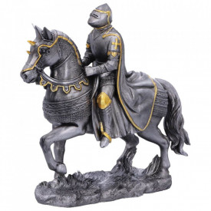 Statueta cavaler medieval Calul de Lupta 12 cm