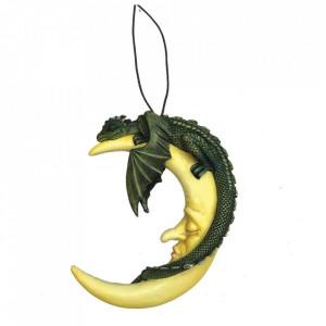 Statueta cu agatatoare pentru perete dragonel Dormind pe luna (verde)