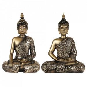 Statueta cu aspect auriu antic Buddha in pozitie lotus 27cm