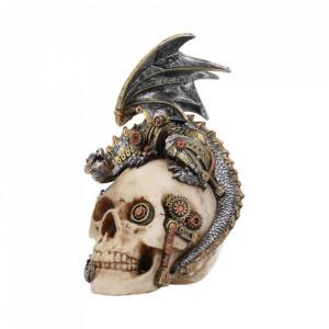 Statueta steampunk craniu cu dragon Aripi de otel 21 cm