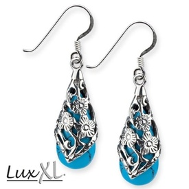 "LuxXL earrings ""Black Ornament"" silver with turquoise"
