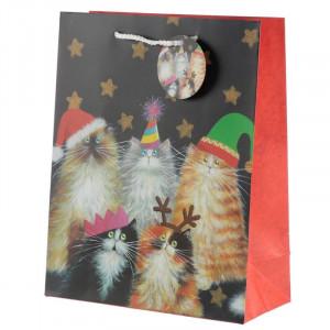 Punga cadou Craciun cu pisica Christmas Cats - mare