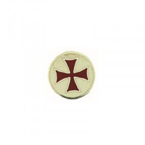 Insigna placata cu argint Crucea Templierilor - rosu si alb