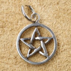Pandantiv argint Pentagrama in cerc